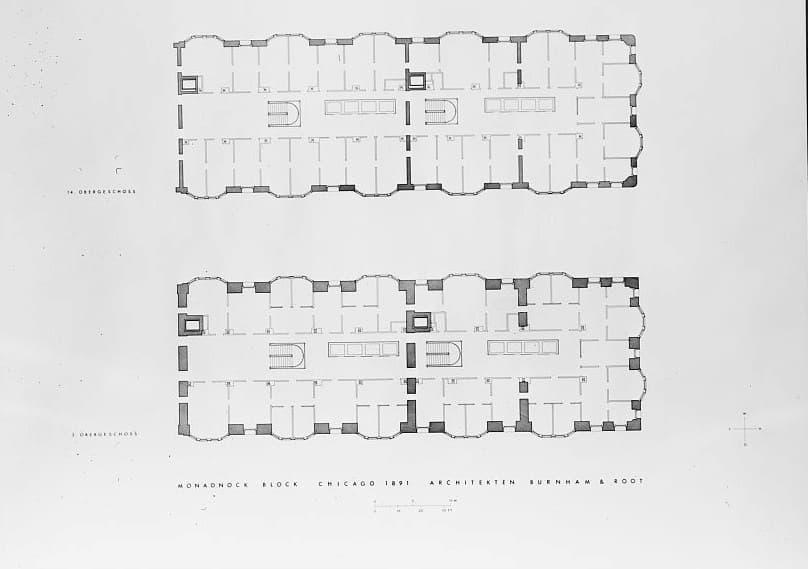 PLANTAS MONADNOCK BUILDING. BURHAM Y ROOT