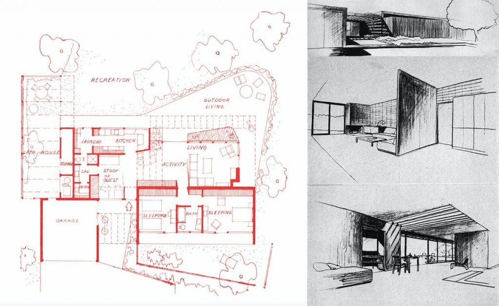 PLANTA Y VISTAS VERSIÓN 2 CASE STUDY HOUSE 7
