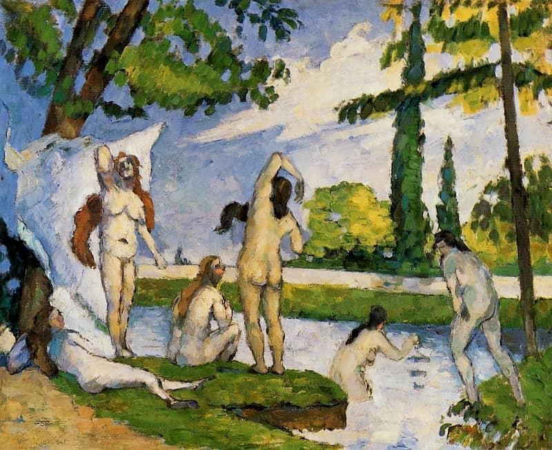Pigmento verde esmeralda en Bañistas de Paul Cézanne