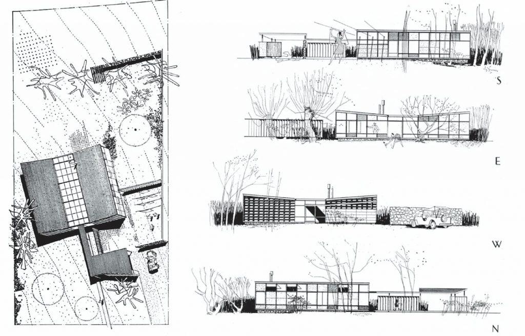 PLANTA CUBIERTA Y ALZADOS CASE STUDY HOUSE 4