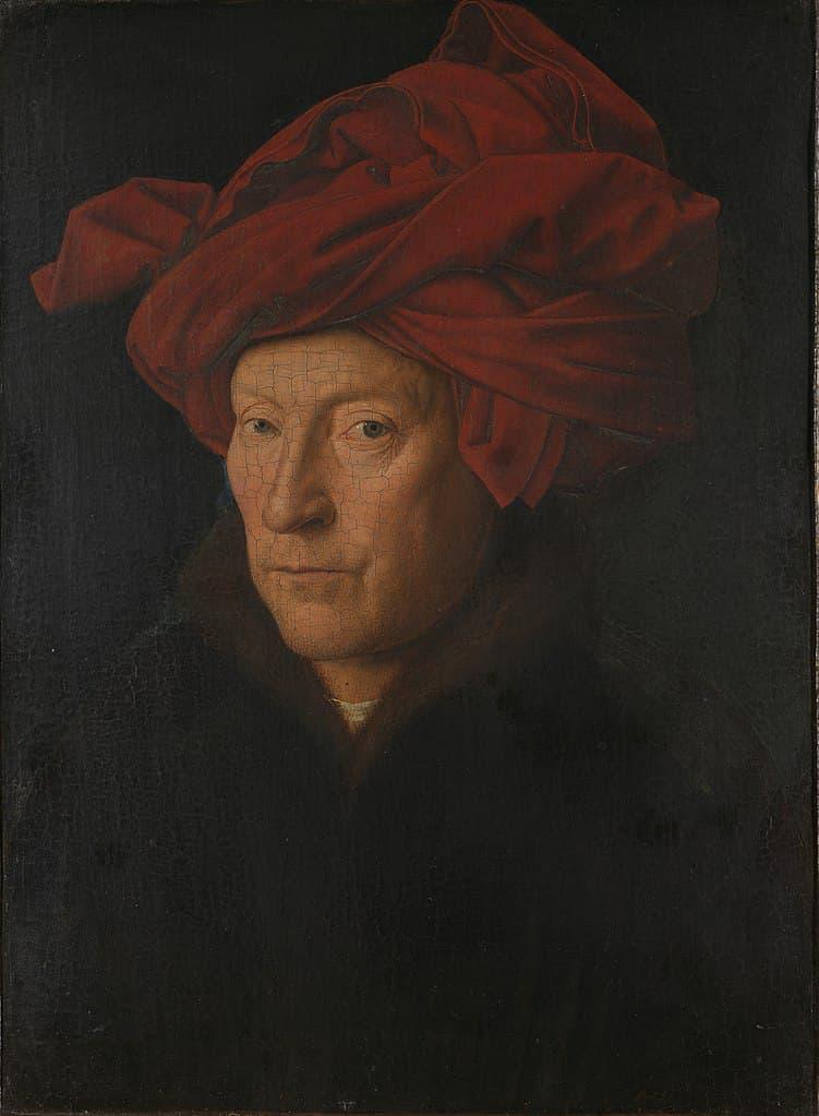 Pigmento Bermellón en Retrato de hombre con turbante de Jan Van Eyck